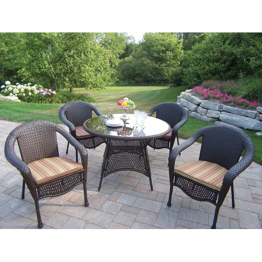 Oakland Living Resin Wicker Dining Set with Cushions