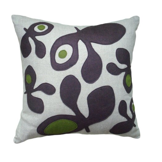 Applique Pods Linen Throw Pillow