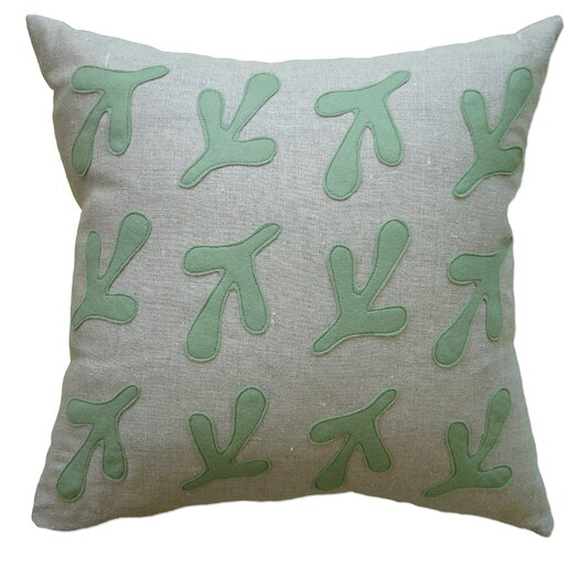 Applique Bird's Feet Linen Throw Pillow