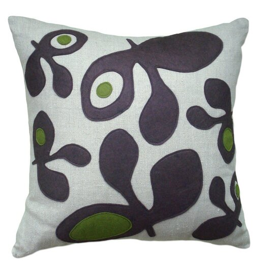 Applique Big Pods Linen Throw Pillow