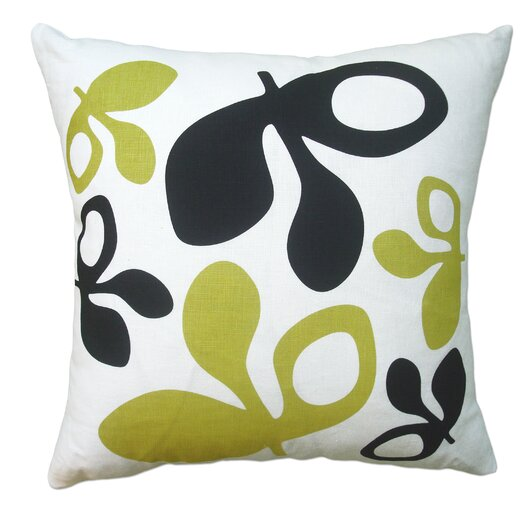 Hand Printed Pods Linen Throw Pillow