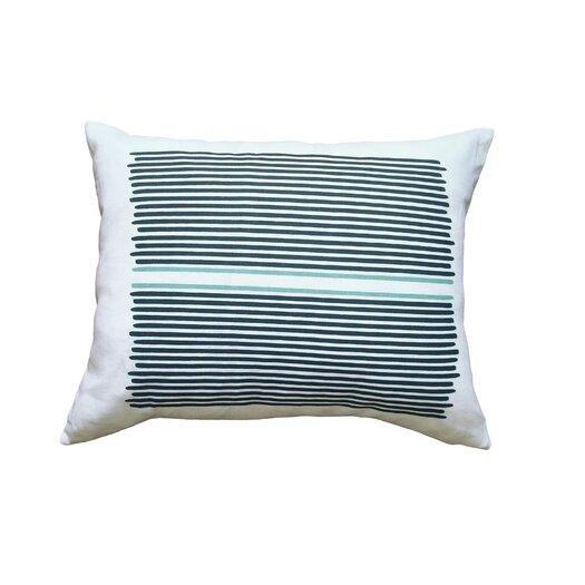 Balanced Design Hand Printed Louis Stripe Cotton Throw Pillow