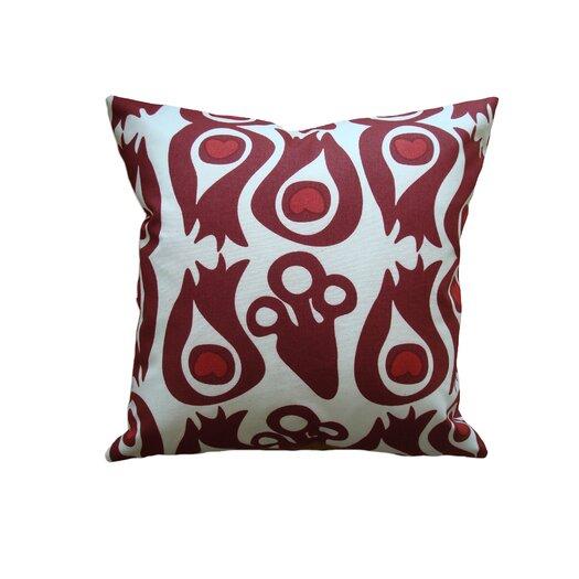 Balanced Design Hand Printed Peacock Cotton Throw Pillow