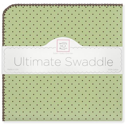 Ultimate Receiving Blanket� in Pastel with Brown Polka Dots