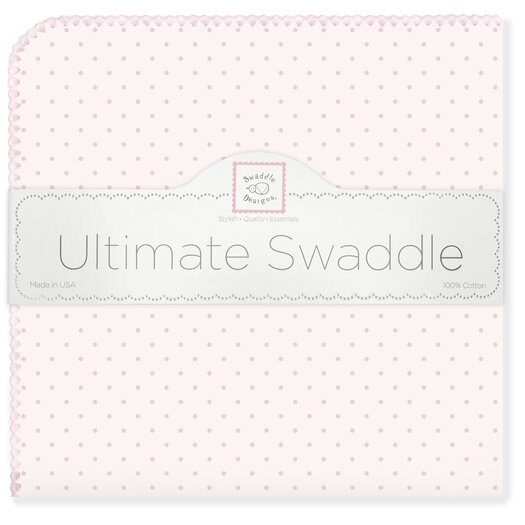 Ultimate Receiving Blanket� in Pastel Pink with Pastel Polka Dots and Pastel Trim