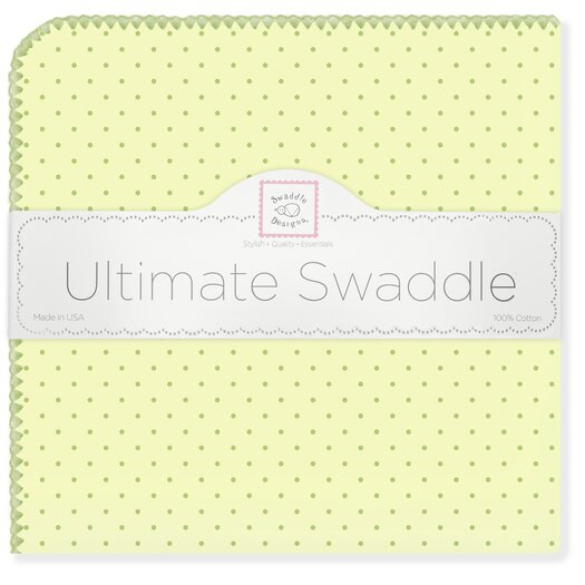 Ultimate Receiving Blanket� in Kiwi with Pastel Polka Dots and Pastel Trim