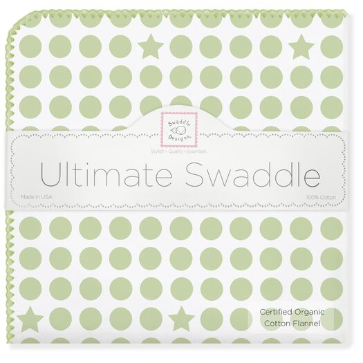 Organic Ultimate Receiving Blanket� in Kiwi Dots and Stars with Pastel Trim