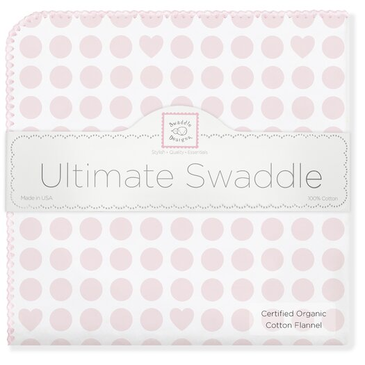 Organic Ultimate Receiving Blanket� in Pastel Pink Dots and Hearts with Pastel Trim