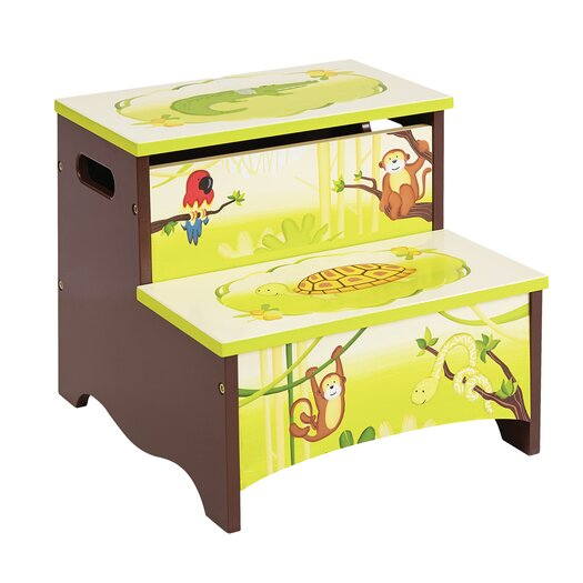 Guidecraft Jungle Party Kids Stool with Storage Compartment