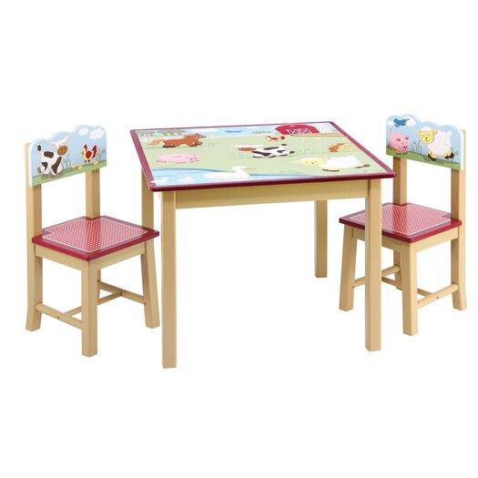 Guidecraft Farm Friends 3 Piece Kids Table & Chair Set