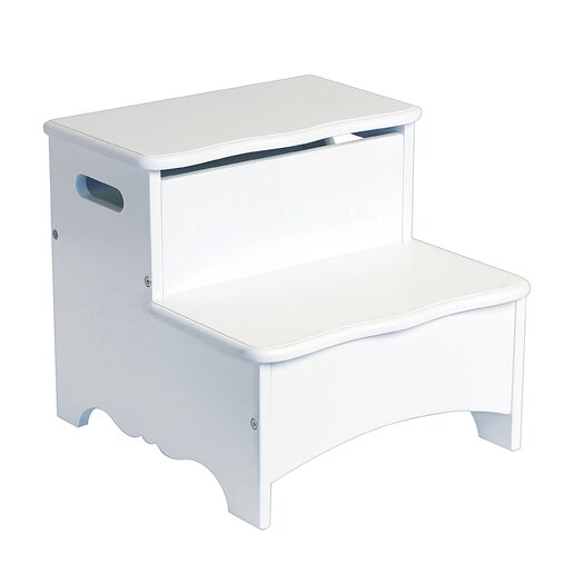 Guidecraft Classic White 2-Step Manufactured Wood Step-Up Storage Step Stool with 200 lb. Load Capacity