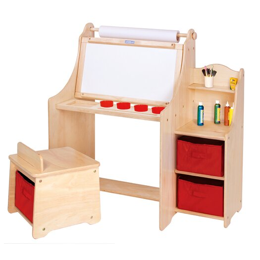 "Guidecraft Art Equipment 36"" W Art Desk Set with Storage"