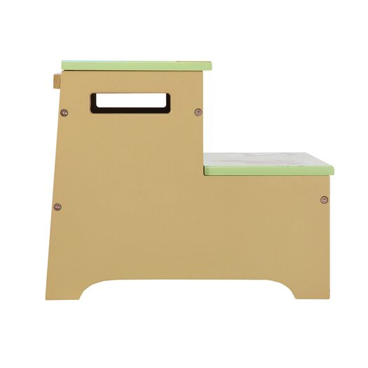 Guidecraft Farm Friends 2-Step Manufactured Wood Storage Step Stool with 200 lb. Load Capacity