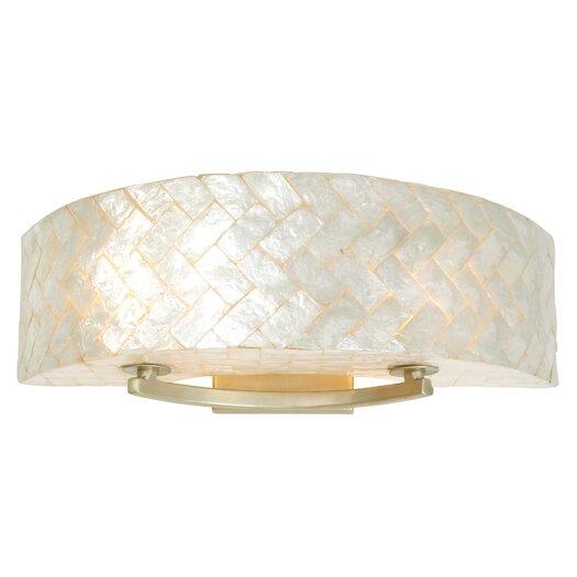 Varaluz Radius Natural Herringbone Capiz Two Light Bath Fixture in Gold Dust