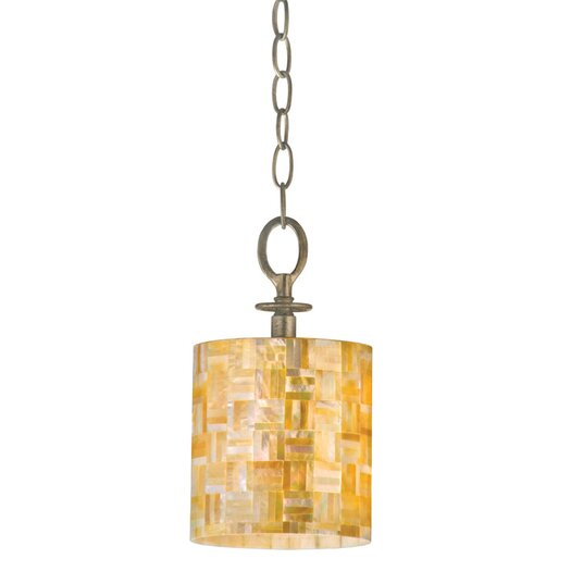 Varaluz Naturals Mini Pendant with Yellow Mother of Pearl Glass Shade