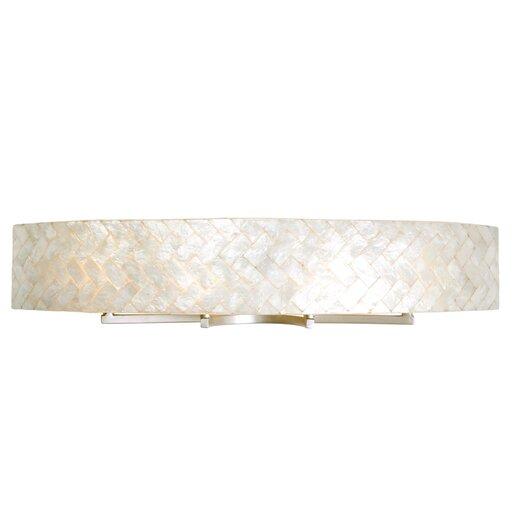 Varaluz Radius Natural Herringbone Capiz Four Light Bath Fixture in Gold Dust