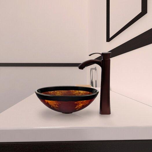 Vigo Fusion Glass Vessel Bathroom Sink with Otis Faucet