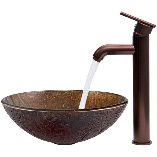 Vigo Kenyan Twilight Glass Vessel Bathroom Sink with Seville Faucet