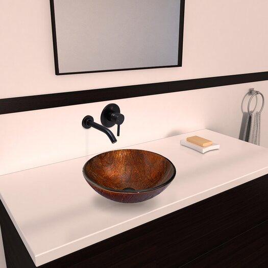 Vigo Kenyan Twilight Glass Vessel Bathroom Sink with Olus Wall Mount Faucet