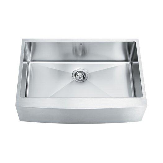 "Vigo 33"" x 22.25"" Single Bowl 16 Gauge Farmhouse Kitchen Sink"