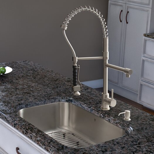 Vigo Two Handle Single Hole Pot Filler Kitchen Faucet with Pull-Down Spray