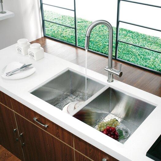 Vigo 32 inch Undermount 50/50 Double Bowl 16 Gauge Stainless Steel Kitchen Sink