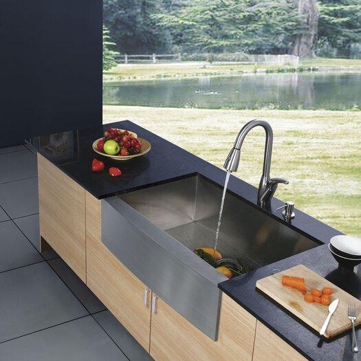 Vigo 33 inch Farmhouse Apron Single Bowl 16 Gauge Stainless Steel Kitchen Sink