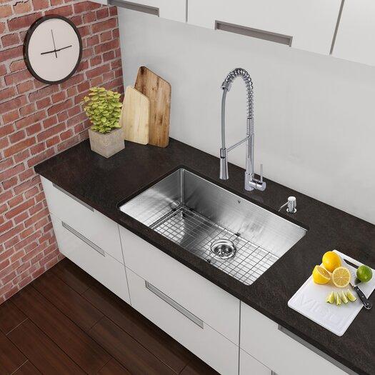 Vigo 30 inch Undermount Single Bowl 16 Gauge Stainless Steel Kitchen Sink
