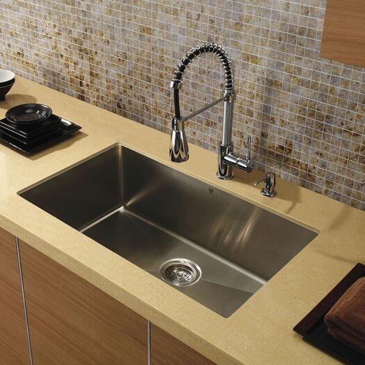 Vigo 32 inch Undermount Single Bowl 16 Gauge Stainless Steel Kitchen Sink