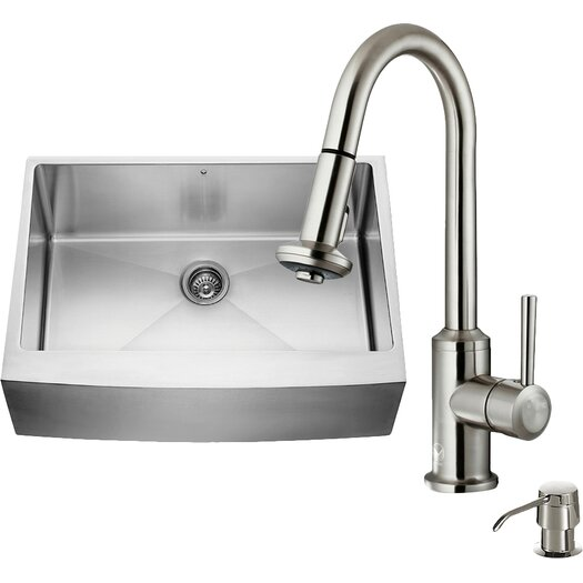 Vigo 30 inch Farmhouse Apron Single Bowl 16 Gauge Stainless Steel Kitchen Sink with Astor Stainless Steel Faucet, Grid, Strainer and Soap Dispenser