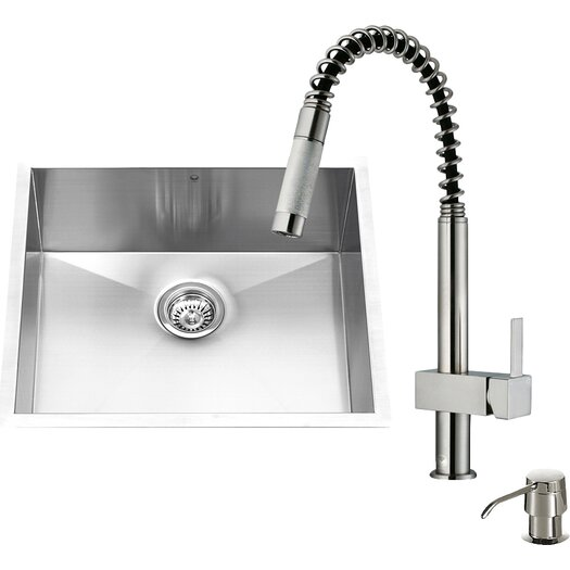 Vigo 23 inch Undermount Single Bowl 16 Gauge Stainless Steel Kitchen Sink with Lincroft Stainless Steel Faucet, Grid, Strainer and Soap Dispenser