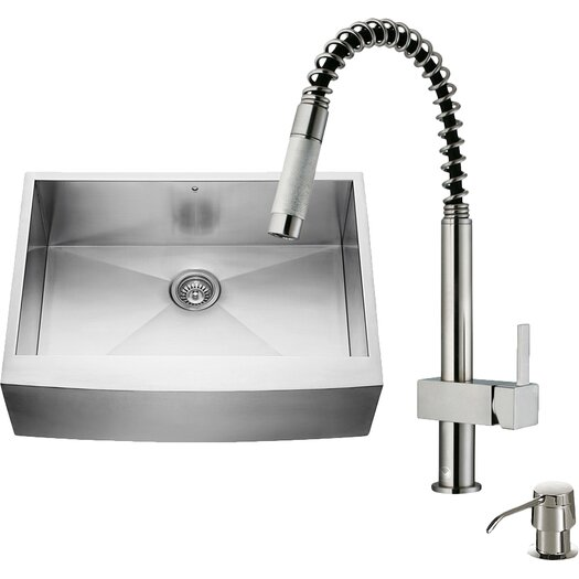 Vigo 30 inch Farmhouse Apron Single Bowl 16 Gauge Stainless Steel Kitchen Sink with Lincroft Stainless Steel Faucet, Grid, Strainer and Soap Dispenser