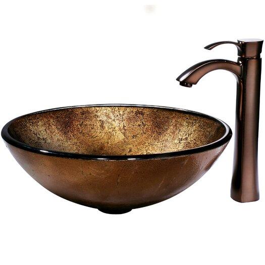 Vigo Liquid Copper Glass Bathroom Sink with Faucet