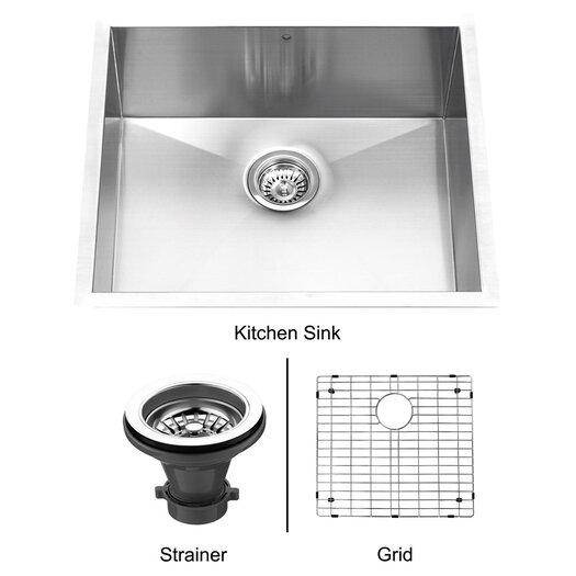 "Vigo 23"" x 20"" Single Bowl Zero Radius 16 Gauge Kitchen Sink"