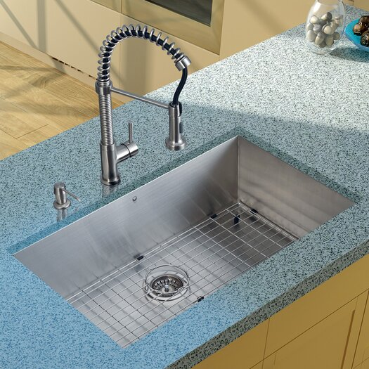 Vigo 32 inch Undermount Single Bowl 16 Gauge Stainless Steel Kitchen Sink with Edison Stainless Steel Faucet, Grid, Strainer and Soap Dispenser