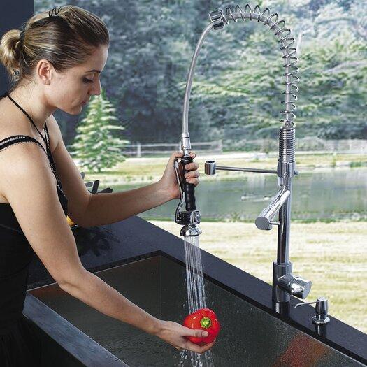 Vigo Zurich Single Handle Pull-Down Spray Kitchen Faucet with Soap Dispenser