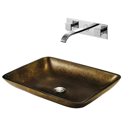 Vigo Copper Glass Bathroom Sink with Faucet