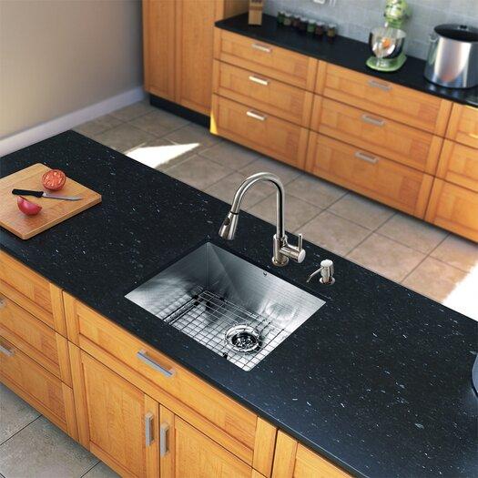 "Vigo All in One 23"" x 20"" Undermount Kitchen Sink with Faucet Set"