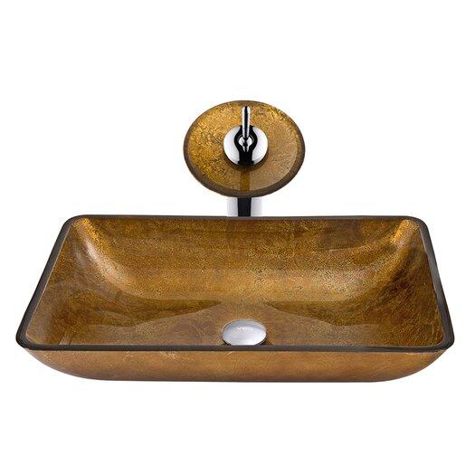Vigo Rectangular Tempered Glass Bathroom Sink with Matching Waterfall Faucet
