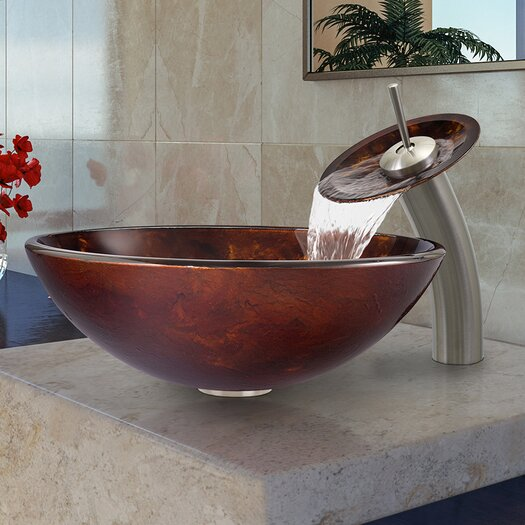 Vigo Fusion Glass Vessel Bathroom Sink with Waterfall Faucet