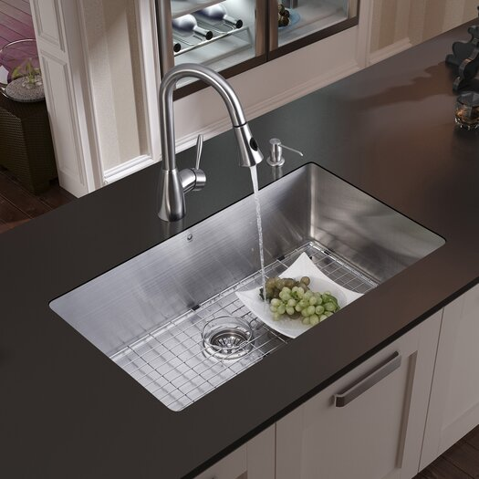 Vigo 32 inch Undermount Single Bowl 16 Gauge Stainless Steel Kitchen Sink with Aylesbury Stainless Steel Faucet, Grid, Strainer and Soap Dispenser