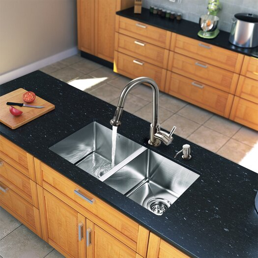 """Vigo 29.25"""" x 18.5"""" Zero Radius Double Bowl Kitchen Sink with Pull-Out Sprayer Faucet"""
