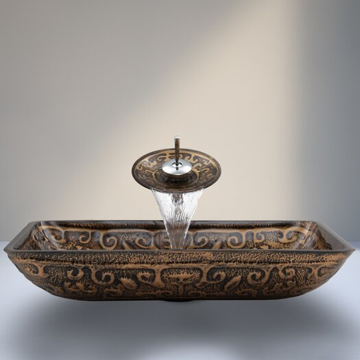 Vigo Golden Greek Glass Vessel Sink with Waterfall Faucet
