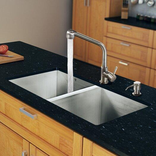 """Vigo 32"""" x 19"""" Zero Radius Double Bowl Kitchen Sink with Faucet"""