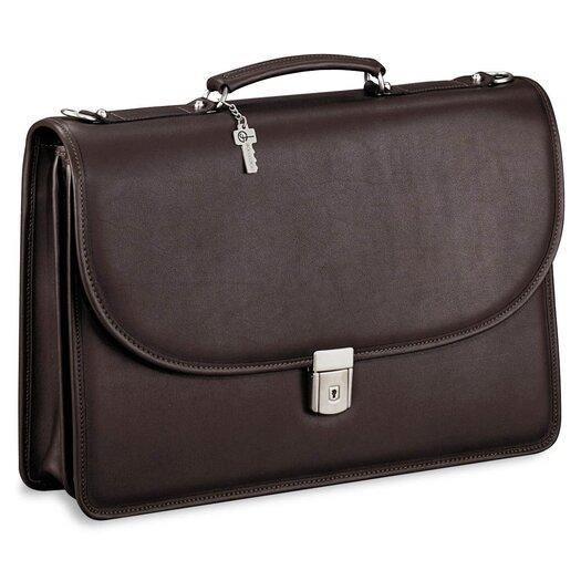 Jack Georges Platinum Double Gusset Leather Briefcase