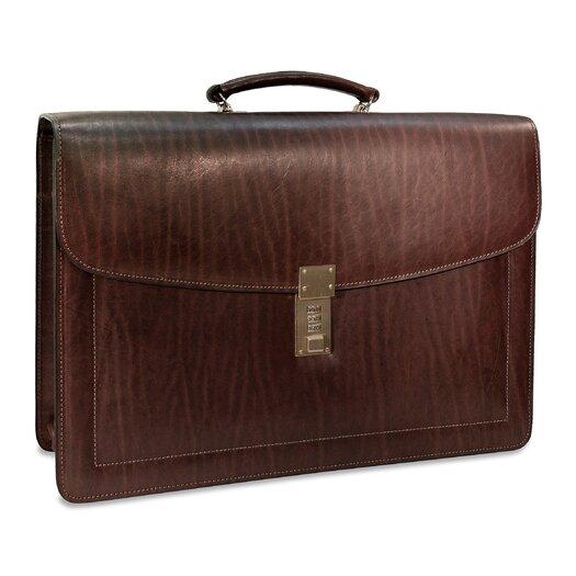 Jack Georges Belting Triple Gusset Leather Briefcase