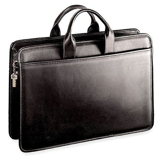 Jack Georges Platinum Single Gusset Leather Briefcase