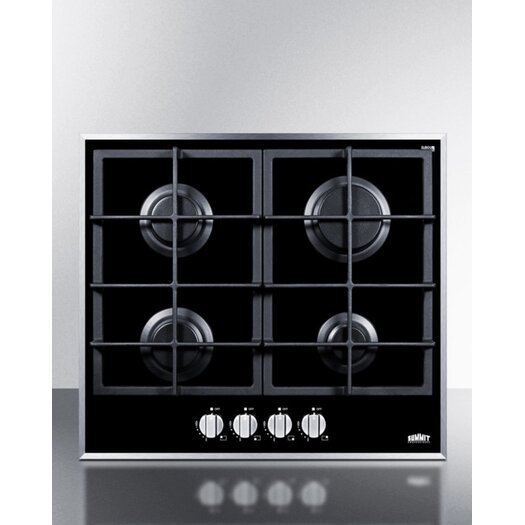 """Summit Appliance 23.25"""" Gas Cooktop with 4 Burners"""
