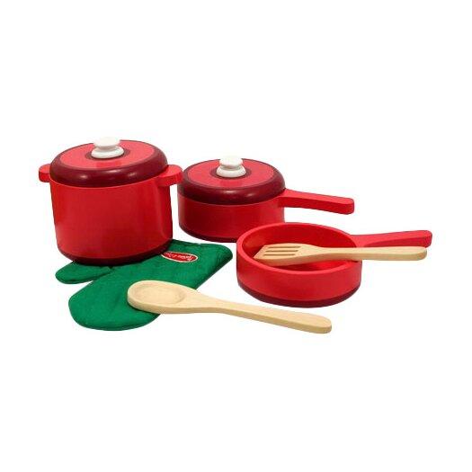 Melissa & Doug 8 Piece Play Food Kitchen Pots and Pans Set