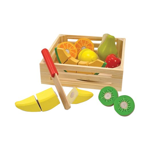 Melissa & Doug 18 Piece Play Food Cutting Fruit Crate Set
